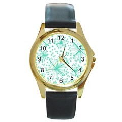 Pattern Floralgreen Round Gold Metal Watch