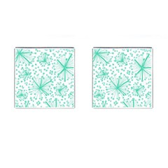 Pattern Floralgreen Cufflinks (Square)