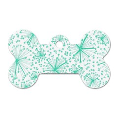 Pattern Floralgreen Dog Tag Bone (two Sides)
