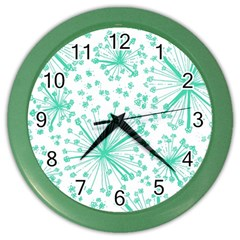 Pattern Floralgreen Color Wall Clocks
