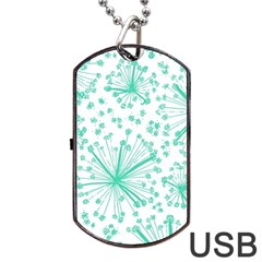 Pattern Floralgreen Dog Tag USB Flash (Two Sides)