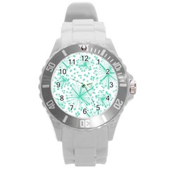 Pattern Floralgreen Round Plastic Sport Watch (L)