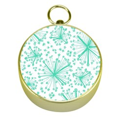 Pattern Floralgreen Gold Compasses