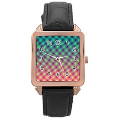 Art Patterns Rose Gold Leather Watch