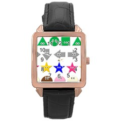 Cute Symbol Rose Gold Leather Watch