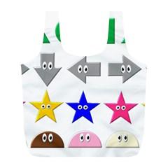 Cute Symbol Full Print Recycle Bags (l)