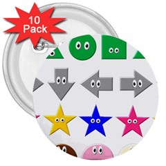 Cute Symbol 3  Buttons (10 Pack)