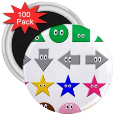 Cute Symbol 3  Magnets (100 Pack)