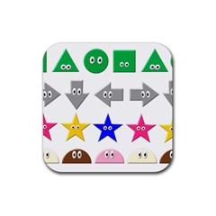 Cute Symbol Rubber Coaster (Square)