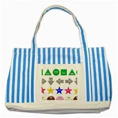 Cute Symbol Striped Blue Tote Bag