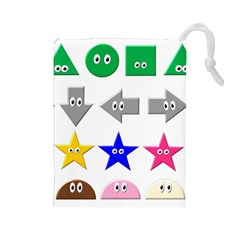 Cute Symbol Drawstring Pouches (large)