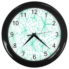 Pattern Floralgreen Wall Clocks (Black)