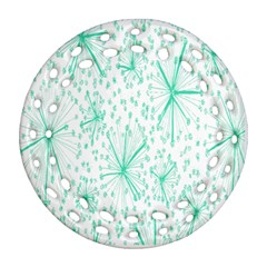 Pattern Floralgreen Round Filigree Ornament (two Sides)