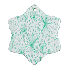 Pattern Floralgreen Snowflake Ornament (two Sides)