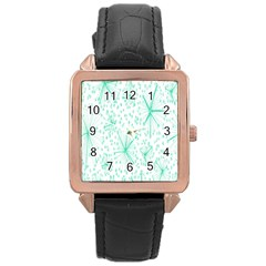 Pattern Floralgreen Rose Gold Leather Watch