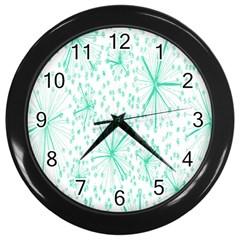 Pattern Floralgreen Wall Clocks (black)