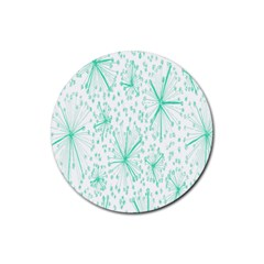Pattern Floralgreen Rubber Round Coaster (4 Pack)