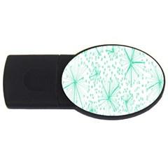 Pattern Floralgreen Usb Flash Drive Oval (4 Gb)