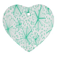Pattern Floralgreen Heart Ornament (two Sides)