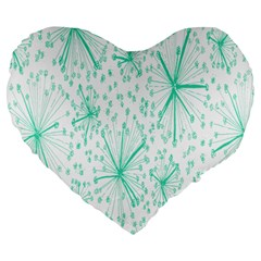 Pattern Floralgreen Large 19  Premium Flano Heart Shape Cushions