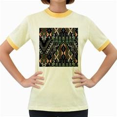 Ethnic Art Pattern Women s Fitted Ringer T Shirts