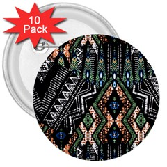 Ethnic Art Pattern 3  Buttons (10 Pack)