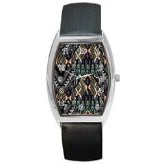 Ethnic Art Pattern Barrel Style Metal Watch