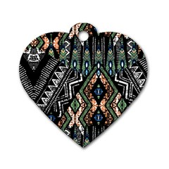 Ethnic Art Pattern Dog Tag Heart (two Sides)
