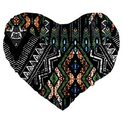 Ethnic Art Pattern Large 19  Premium Heart Shape Cushions