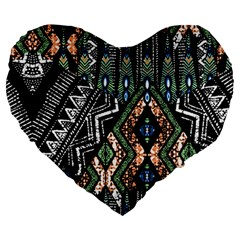 Ethnic Art Pattern Large 19  Premium Flano Heart Shape Cushions
