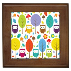 Cute Owl Framed Tiles