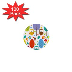 Cute Owl 1  Mini Buttons (100 Pack)