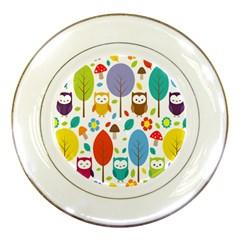 Cute Owl Porcelain Plates