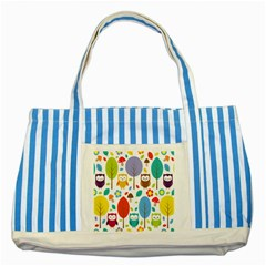 Cute Owl Striped Blue Tote Bag