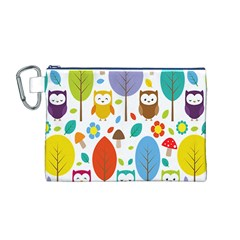 Cute Owl Canvas Cosmetic Bag (m)