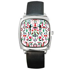 Abstract Peacock Square Metal Watch