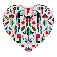 Abstract Peacock Heart Ornament (two Sides)
