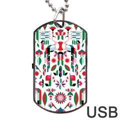 Abstract Peacock Dog Tag USB Flash (One Side)