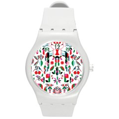 Abstract Peacock Round Plastic Sport Watch (m)