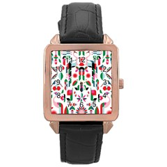 Abstract Peacock Rose Gold Leather Watch