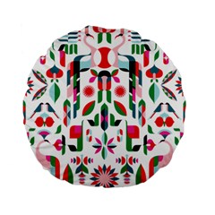 Abstract Peacock Standard 15  Premium Flano Round Cushions