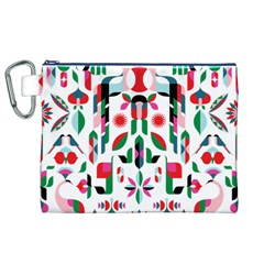 Abstract Peacock Canvas Cosmetic Bag (xl)