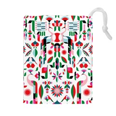 Abstract Peacock Drawstring Pouches (extra Large)