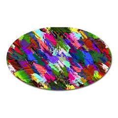 Tropical Jungle Print And Color Trends Oval Magnet