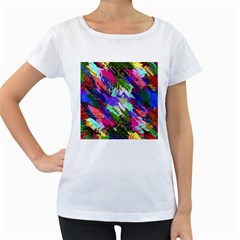 Tropical Jungle Print And Color Trends Women s Loose-Fit T-Shirt (White)