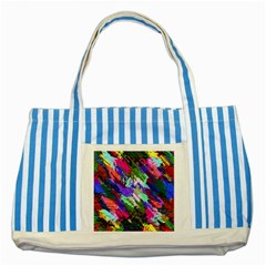 Tropical Jungle Print And Color Trends Striped Blue Tote Bag