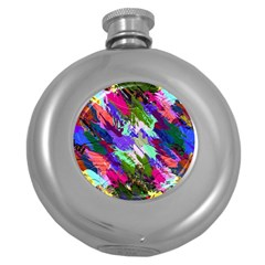 Tropical Jungle Print And Color Trends Round Hip Flask (5 Oz)
