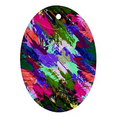 Tropical Jungle Print And Color Trends Oval Ornament (two Sides)