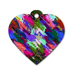 Tropical Jungle Print And Color Trends Dog Tag Heart (One Side)