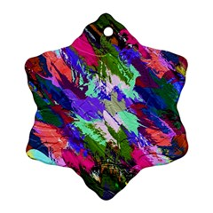 Tropical Jungle Print And Color Trends Snowflake Ornament (two Sides)